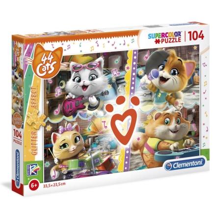 44 Cats Glitter Effect puzzle 104db-os ajándékba