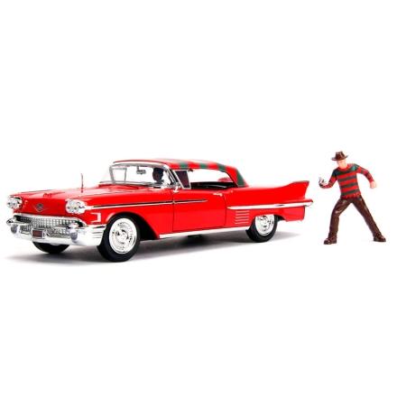 Rémálom az Elm utcában Cadillac Series 62 1958 fém autó & figura szett termékfotója